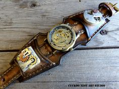 Steampunk Leather Watch Cuff Wrist Watch by CuckooNestArtStudio