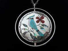 Vintage Zuni JAKE LIVINGSTON Sterling Double-Sided Pendant Necklace, Birds & Flowers