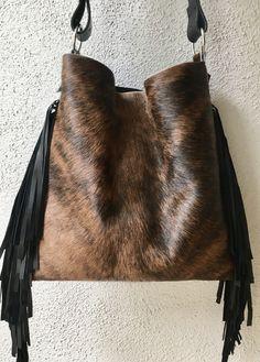 "ank & Henrietta ""Original"" Style Bag in Brindle Brown Hair on Hide & Black Leather Fringe Bag.  Visit https://www.hankhenrietta.com"