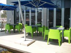 Green Box Armchairs & Ares80 Dark Grey tables