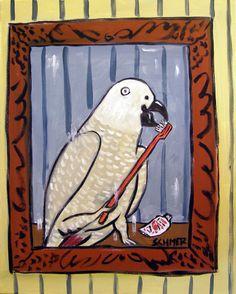 Duck in the bathroom gift bird ANIMAL art tile COASTER