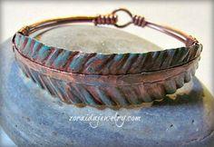 Rustic Copper Leaf Bracelet with Patina