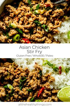 healthy stir fry An easy 10 minute stir fry dinner made with ground chicken, fresh ginger, and green onion. Flavorful and healthy, this Asian chicken stir fry is a super fast recipe th Dairy Free Recipes Easy, Easy Whole 30 Recipes, Good Healthy Recipes, Gluten Free, Healthy Chef, Chicken Stir Fry, Asian Chicken, Whole30 Dinner Recipes, Paleo Meals