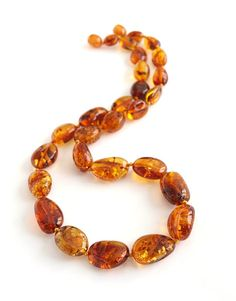 Elegant Baltic amber necklace Cognac color amber beads by Ambereli, $34.99