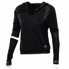 Asics Lady Ayami Convertible Sleeve Full Zip Hooded Top - X Large - Black