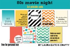 Free Movie Night Printable Project Life Cards from Laura Kate is Crafty Project Life Free, Project Life Cards, Project 365, Printable Quotes, Printable Cards, Free Printables, 80s Movie Quotes, 80s Movies, Life Journal