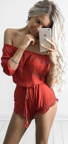 #summer #feminine #outfits | Rust Playsuit