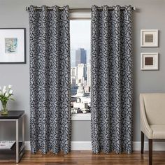 The Softline Bancroft Jacquard Grommet Top Curtain Panel brings adds transitional appeal to any living space. This single panel adds color and style. Cool Curtains, Hanging Curtains, Panel Curtains, Insulated Curtains, Thermal Curtains, Curtain Styles, Curtain Ideas, Window Panels, Modern