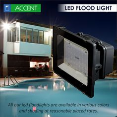 Floodlights are broad-beamed, high-intensity artificial lights that are often used to illuminate outdoor playing fields while an outdoor sports event is conducted. All our LED floodlights are available in various colors. Led Flood Lights, Outdoor Play, Beams, Fields, Bright, Colors, Sports, Hs Sports, Led Projector