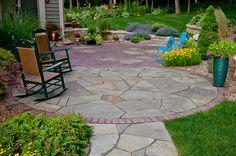 Patio transition of Bluestone to Brick