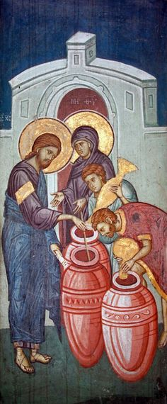 The Marriage at Cana , Fresco - Decani, 14th century