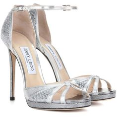 Jimmy Choo Talia 120 Metallic Leather and Glitter Sandals (11 220 ZAR) ❤ liked on Polyvore featuring shoes, sandals, silver, glitter sandals, genuine leather shoes, silver metallic sandals, leather footwear and leather shoes