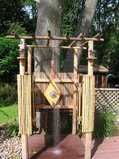 Outdoor bamboo shower with Cali Bamboo fencing