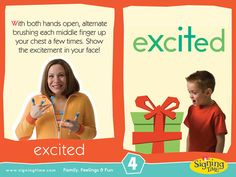 EXCITED: With both hands open, alternate brushing each middle finger up your chest a few times. Show the excitement in your face! Sign Language Basics, Sign Language For Kids, Sign Language Phrases, Sign Language Interpreter, American Sign Language, Toddler Bible, Toddler Teacher, Autism Signs, Asl Signs