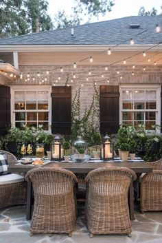 28 Delightful backyard design ideas for summertime inspiration, patio designs ideas – outdoor living space designs Outdoor Rooms, Outdoor Furniture Sets, Outdoor Decor, Outdoor Patio Tables, Outdoor Wicker Chairs, Outdoor Dining Set, Porch Table And Chairs, Farmhouse Outdoor Furniture, White Wicker Patio Furniture