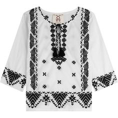 Figue Embroidered Cotton Top (9.304.775 VND) ❤ liked on Polyvore featuring tops, blouses, white, white peasant top, peasant blouse, embroidered peasant blouse, embroidered cotton blouse and peasant tops
