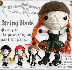 Roller derby voodoo string doll key chain JAMMER model - These make AWESOME GIFTS! See all of them on our site! (We have Blocker, Pivot & Ref models too!)