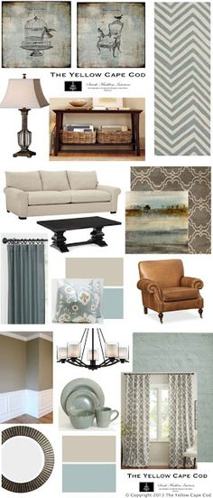 Like the wall color for my dining room and living room. Crazy that I already have 3 items on this board! The Yellow Cape Cod~Three Rooms One Design Living Room Paint, Living Room Colors, Living Room Grey, Home And Living, Living Room Furniture, Living Room Decor, Dining Room, Living Area, Family Room Design