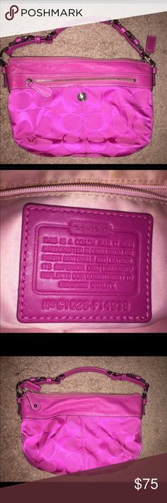 Hot pink authentic coach purse! This has only been used a handful of times. Some wear on the inside as pictured, but the outside is in great condition and over is in great shape! Make me an offer! Coach Bags Shoulder Bags
