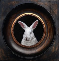 Portrait of a white rabbit, miniature oil painting on copper by Rebecca Luncan