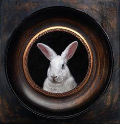 Portrait of a white rabbit, miniature oil painting on copper by Rebecca Luncan Rabbit Illustration, Digital Illustration, Miniature Portraits, White Rabbits, Rabbit Art, Bunny Art, Funny Bunnies, Pet Portraits, Portrait Pictures