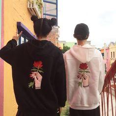 Image result for embroidery hoodie Rose Embroidery, Kawaii Fashion, Hoodies, Sweatshirts, Harajuku, Graphic Sweatshirt, Street Style, Tees, Cute