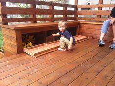 Deck with storage under seating