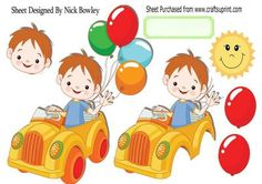 Boy in his car with balloons A4 on Craftsuprint - Add To Basket!