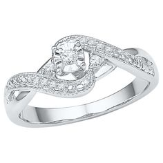 1/10 CT. T.W. Round Diamond Prong and Miracle Set Promise Ring in Sterling Silver