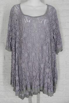 SURREALIST USA Tunic Shirt Layering Floral Lace Lavender Grey New Sz 2 Medium #SurrealistUSA #TunicSwingTop #Casual