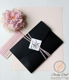 Black and pink invitation