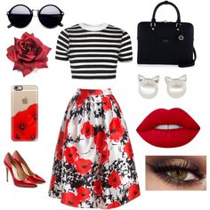 Little miss perfect by phya on Polyvore featuring polyvore fashion style Topshop Sans Souci Salvatore Ferragamo Henri Bendel Casetify Lime Crime clothing