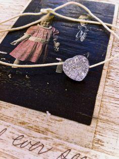 my love. vintage glass heart,string,stackable,valentines bracelet. Tiedupmemories