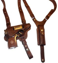 Genuine leather shoulder holster for Ruger Makarov, Bersa Thunder, Walther PPK PPK/s 1911 Leather Holster, Custom Leather Holsters, Gun Holster, Leather Briefcase, Ruger Lc9, Leather Stamps, Steampunk Accessories, Leather Projects, Leather Working