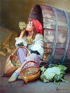 Girl resting in a winery Turkish Art, Oil Painting On Canvas, Beautiful Paintings, Art Pictures, Female Art, Watercolor Paintings, Fantasy Art, Art Drawings, Illustration Art