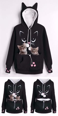 04419c49efc Plus Size Cat Carrier Pouch Pocket Hoodie