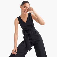 women's wrap-tie jumpsuit in stretch poplin - women's casual dresses