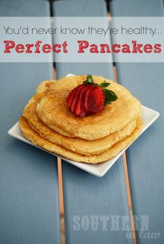 The BEST Pancake Recipe you'll ever make - and they're healthy too! These pancakes beat IHOP's pancakes on so many levels and they're so easy to make! Cottage cheese pancakes that can be whole wheat or gluten free and are clean eating friendly and low fat too!