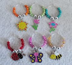Wine Glass Charms  Set of 6  SUMMER FRIENDS by uniquelyyours2010, $10.25