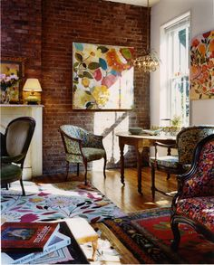 Glorious Painting Brick Walls Living Room Traditional with Vintage Furniture Chandelier Antique Wall Designer Showcase Layered Rugs Floral Upholstery Decor Eclectic interior Eclectic Living Room, Living Room Designs, Living Room Decor, Living Rooms, Living Spaces, Bohemian Interior Design, Modern Interior Design, Eclectic Design, Brick Interior