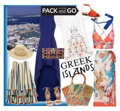 """Pack and go: Greek Islands"" by bayoubijou ❤ liked on Polyvore featuring Tory Burch, BCBGMAXAZRIA, Vitamin A, Hemant and Nandita, rag & bone, ASPIGA, Emilio Pucci, J.Crew and Aquazzura"