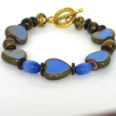 Heart Bracelet, Summer Bracelet, Blue Bracelet, Brown Bracelet, Bracelet, Mother's Day Gift, Easter, Hearts, Heart Jewelry, Czech