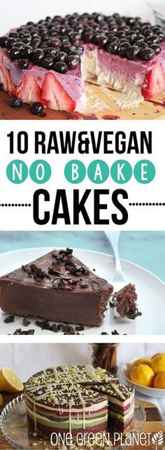 10 No-Bake Raw Vegan Cakes That Are Perfect for Summer Healthy Recipes Dinner Re. 10 No-Bake Raw V Raw Vegan Cake, Raw Vegan Desserts, Raw Cake, Raw Vegan Recipes, Vegan Treats, Vegan Foods, Vegan Dishes, Delicious Desserts, Paleo