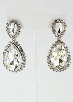 Helen's Heart JE-4601-10 #Rissyroosprom Clear Silver Prom Earrings.