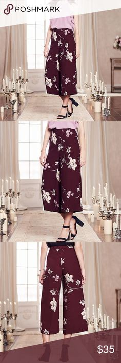 NWT LC Lauren Conrad Runway Floral Crop Pants NWT LC Lauren Conrad Runway Floral Crop Pants. Wide-leg design, floral print, maroon. 100% Polyester. LC Lauren Conrad Pants Ankle & Cropped