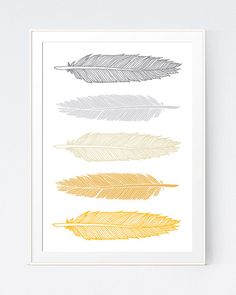Feathers Art Yellow and Gray Feathers Wall Art  Mutard Gold