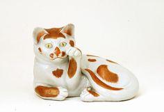 Old Japanese Kutani Welcome Reclining Cat Maneki Neko