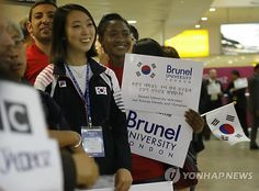 Team Korea Olympic training camp at Brunel University in July 2012 - Brunel student volunteers greet the Korean team at Heathrow Airport. Google Image Result for http://img.yonhapnews.co.kr/photo/yna/YH/2012/07/21/PYH2012072100760001300_P2.jpg