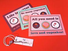 Set di 3 cartoline I LOVE CUPCAKES di zolushka65 su Etsy