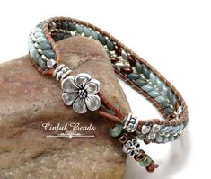 Beaded Leather Wrap Bracelet-Boho Leather Wrap-Superduo And Seed Bead Leather Bracelet-Green And Bronze Leather Beaded Leather Wraps, Leather Cuffs, Leather Earrings, Leather Jewelry, Brown Leather, Leather Bracelets, Leather Cord, Stud Earrings, Copper Bracelet